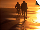 Couple Biking Toward Sunset  Monterey  CA
