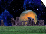 Stonehenge at Night with Mars in Background
