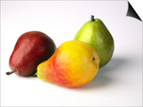 Three Pears  Red  Yellow and Green  on White Background