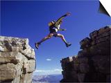 Hiker Jumping  High Uintas  UT
