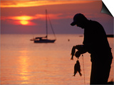 Silhouette of Man Fishing  Lake Erie  Lorain  OH