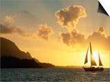 Sailing Yacht at Sunset off Coast of Hanalai Bay  Kauai  Hawaii  USA