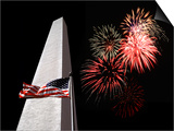 Collage of the Washington Monument  American Flag  and Fireworks