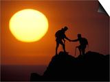 Two Climbers Reach the Summit at Sunrise  Colorado  USA
