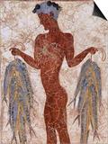 Fresco of a Fisherman from Akrotiri  Island of Santorini  Greece