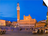 Clock Tower with a Palace in a City  Torre Del Mangia  Palazzo Pubblico  Piazza Del Campo  Siena