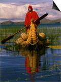 Traditiona Totora Reed Boat & Aymara  Lake Titicaca  Bolivia / Peru  South America