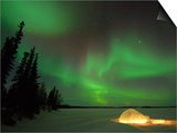 Igloo Lit Up at Night under Northern Lights Northwest Territories  Canada March 2007