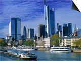 Barge on Water & Skyline  Frankfurt  Germany