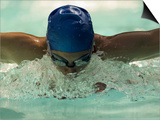 Young Woman Swimming the Butterfly Stroke in a Swimming Pool  Bainbridge Island  Washington  USA