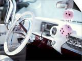 Close-Up of Steering Wheel and Interior of a Pink Cadillac Car