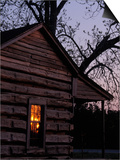 Log Cabin Window Reflecting Sunset  Red Hill  GA
