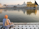 Sikh Pilgrim Sitting by Holy Pool  Golden Temple  Amritsar  Punjab State  India