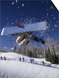 Blurred Action of Snowboarder  Aspen  Colorado  USA
