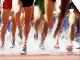 Runners Legs Splashing Through Water Jump of Track and Field Steeplechase Race  Sydney  Australia