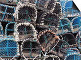 Lobster Pots in Fishing Harbour at Loguivy  Cote De Granit Rose  Cotes d'Armor  Brittany  France