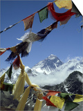 Mount Everest and Prayer Flags  Nepal