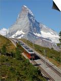 Gornergrat Railway in Front of the Matterhorn  Riffelberg  Zermatt  Valais  Swiss Alps  Switzerland