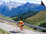 Cyclist Riding Over Sella Pass  2244M  Dolomites  Alto Adige  Italy