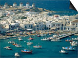 Aerial of the Harbour and Mykonos Town with Windmills in the Background  Greece