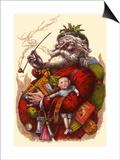 Santa Holds Armful of Toys  1880