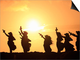Silhouette of Hula Dancers at Sunrise  Molokai  Hawaii  USA