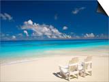 Two Deck Chairs on Tropical Beach Facing Sea  Maldives  Indian Ocean