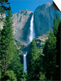 Waterfalls Swollen by Summer Snowmelt at the Upper and Lower Yosemite Falls  USA