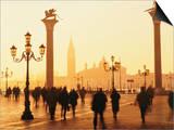 Sunrise in St Mark's Square  San Giorgio Maggiore in Background  Venice  Veneto  Italy