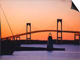 Newport Bridge and Harbor at Sunset  Newport  Rhode Island  USA