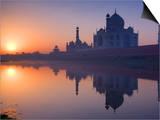 Taj Mahal  UNESCO World Heritage Site  Reflected in the Yamuna River  Agra  Uttar Pradesh  India  A