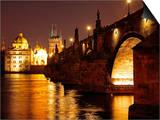 Charles Bridge over the River Vltava at Night  UNESCO World Heritage Site  Prague  Czech Republic