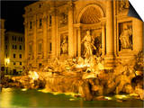 Trevi Fountain Illuminated at Night in Rome  Lazio  Italy  Europe