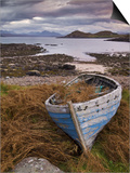 Sunset  Old Blue Fishing Boat  Inverasdale  Loch Ewe  Wester Ross  North West Scotland