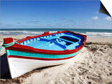 Small Boat on Tourist Beach the Mediterranean Sea  Djerba Island  Tunisia  North Africa  Africa