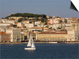 View from River Tagus  Showing Praca Comercio  Castle and Cathedral  Lisbon  Portugal