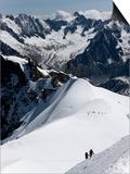 Climbers on Mont Blanc  Aiguille Du Midi  Mont Blanc Massif  Haute Savoie  French Alps  France  Eur