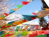 Prayer Flags Flying in Wind at Guishan Gongyuan Temple  Shangri-La (Zhongdian)  China