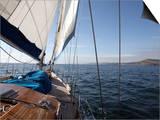 Yacht Sailing West Along the Coast  Dorset  England  United Kingdom  Europe