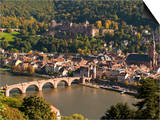 View of the Alte Brucke (Old Bridge)  Neckar River Heidelberg Castle and Old Town from the Philosop