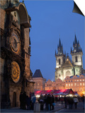 Astronomical Clock of Gothic Old Town Hall  Stalls of Christmas Market  Prague