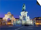 Praca Do Comercio with Equestrian Statue of Dom Jose and Arco Da Rua Augusta  Lisbon  Portugal
