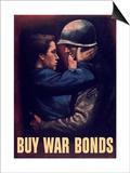 World War II Propaganda Poster of a Soldier Embracing a Woman