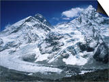 Mount Everest and Ama Dablam Seperated by a Glacier  Nepal