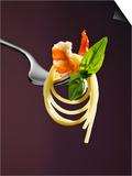 Spaghetti with Shrimp and Basil on a Fork
