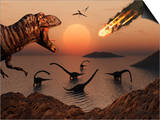 A Mighty T Rex Roars from Overhead as a Giant Fireball Falls from the Sky