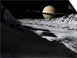 Saturn's Moon  Tethys  Is Split by an Enormous Valley Called Ithaca Chasma