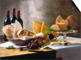 Assorted Types of Cheese with Bread  Red Wine