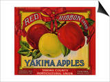Fruit Crate Labels: Red Ribbon Brand Yakima Apples; Yakima County Horticultural Union