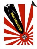 World War II Propaganda Poster Featuring a Bomb Striking a Swastika